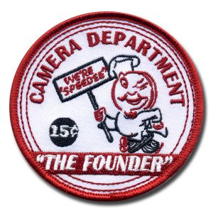 the founder embroidered patch with small text